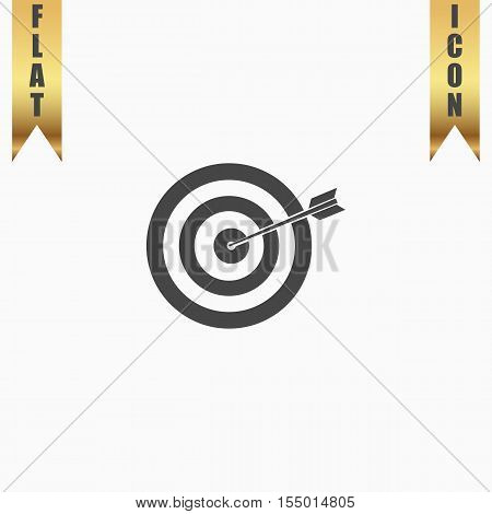 A dart is in the center of a dartboard. Target concept. Flat Icon. Vector illustration grey symbol on white background with gold ribbon