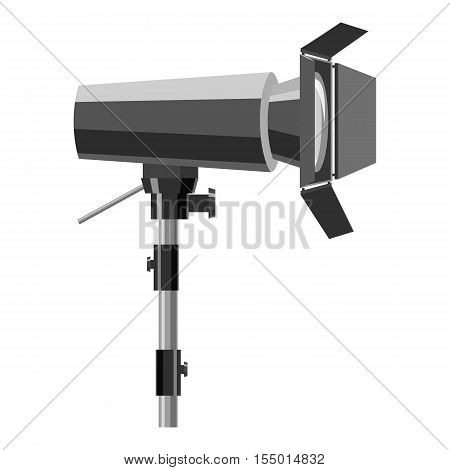Floodlight on stand icon. Gray monochrome illustration of floodlight on stand vector icon for web