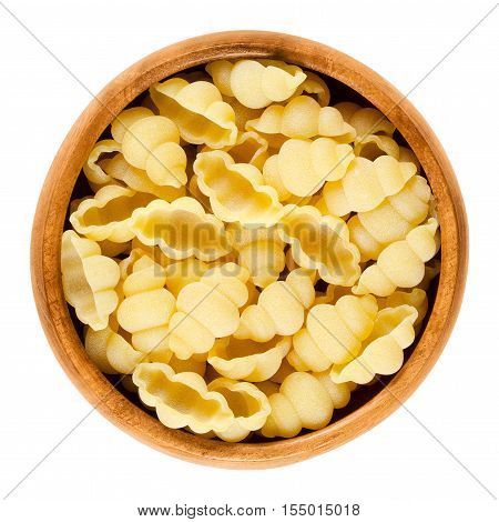 Gnocchi pasta in wooden bowl. Decorative short-cut lobed shells of Italian noodles. Uncooked dried durum wheat semolina pasta. Isolated macro food photo over white background.
