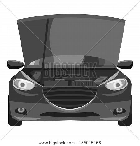 Car with open hood icon. Gray monochrome illustration of car with open hood vector icon for web