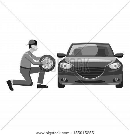 Changing wheel on car icon. Gray monochrome illustration of changing wheel on car vector icon for web