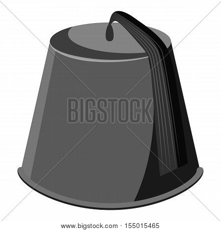 Hat fez icon. Gray monochrome illustration of hat fez vector icon for web