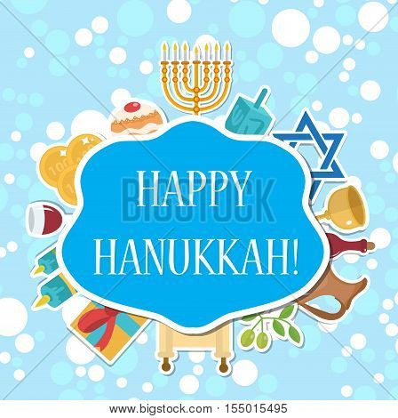 Happy Hanukkah greeting card invitation poster. Hanukkah Jewish Festival of Lights Feast of Dedication. Hanukkah Greeting Card with Menorah. Vector illustration