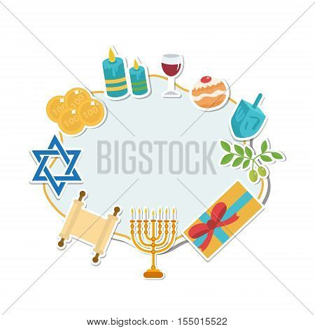 Happy Hanukkah card template for text frame. Hanukkah is a Jewish holiday. Greeting Card with Menorah Sufganiyot Dreidel. Vector illustration