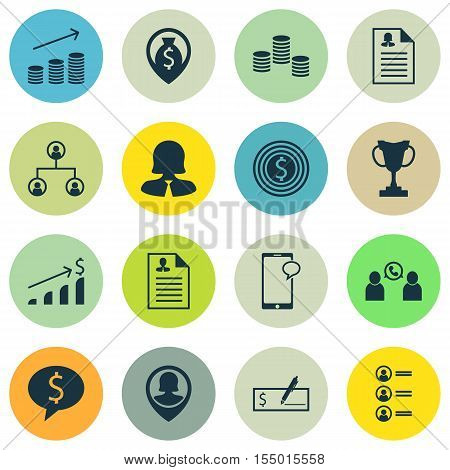 Set Of Human Resources Icons On Business Woman, Money Navigation And Female Application Topics. Edit