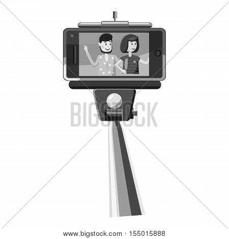 Selfie stick and phone with photo icon. Gray monochrome illustration of selfie stick and phone with photo vector icon for web