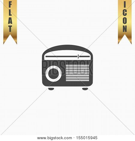 Retro revival radios tuner. Flat Icon. Vector illustration grey symbol on white background with gold ribbon