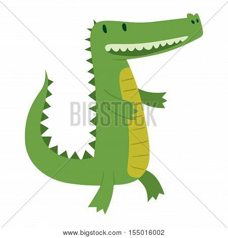 Cute cartoon crocodile character green zoo animal. Cute crocodile character doodle animal like a toy with teeth. Happy predator crocodile character mascot comic color vector icon.