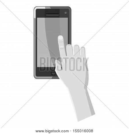 Hand works on phone icon. Gray monochrome illustration of hand works on phone vector icon for web