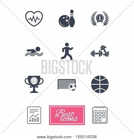 Sport games, fitness icons. Football, basketball and bowling signs. Swimming, runner and winner award symbols. Report document, calendar icons. Vector