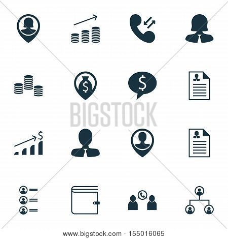 Set Of Management Icons On Wallet, Phone Conference And Job Applicants Topics. Editable Vector Illus