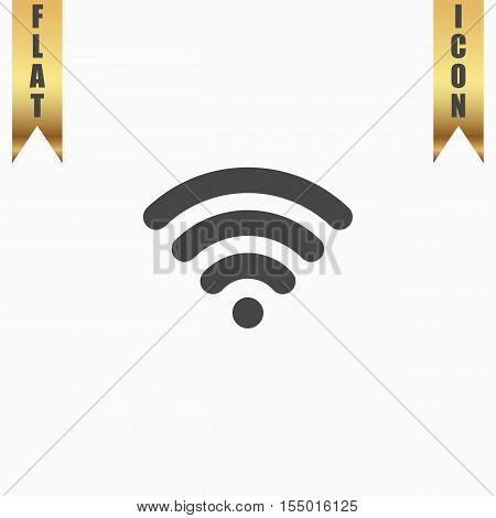 Free wi fi. Flat Icon. Vector illustration grey symbol on white background with gold ribbon
