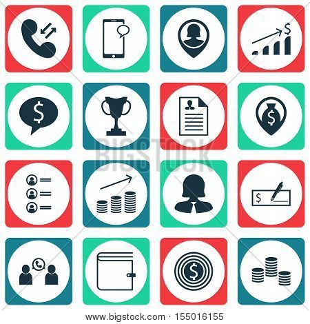 Set Of Hr Icons On Phone Conference, Business Deal And Money Topics. Editable Vector Illustration. I