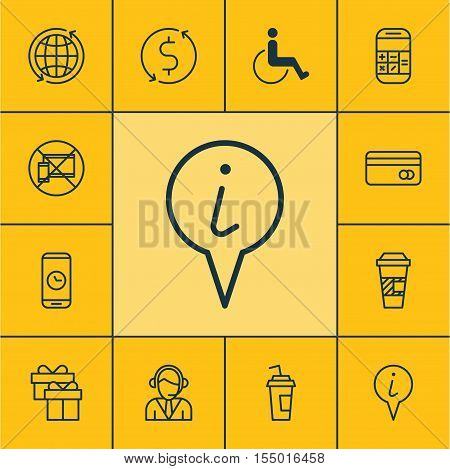 Set Of Travel Icons On Accessibility, Present And Money Trasnfer Topics. Editable Vector Illustratio