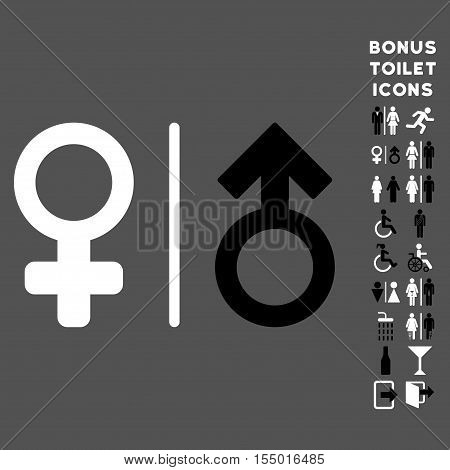WC Gender Symbols icon and bonus man and woman lavatory symbols. Vector illustration style is flat iconic bicolor symbols, black and white colors, gray background.
