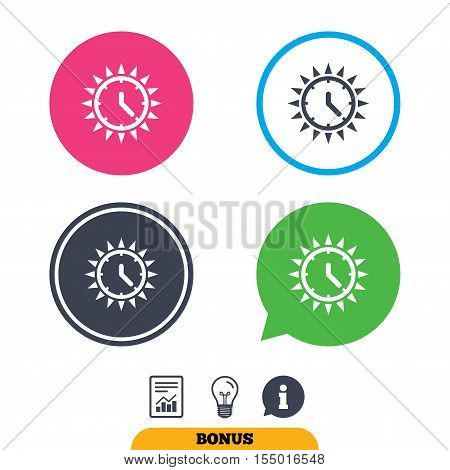 Summer time icon. Sunny day sign. Daylight saving time symbol. Report document, information sign and light bulb icons. Vector