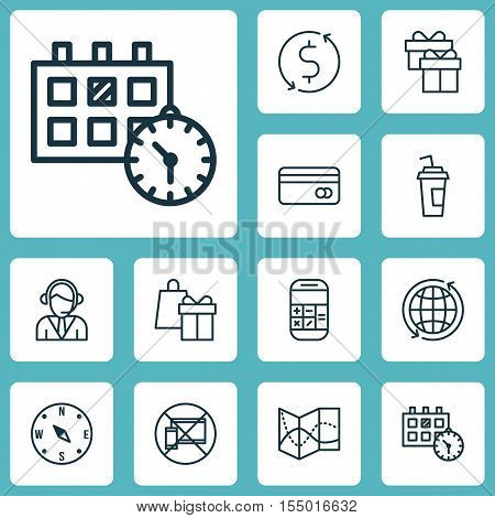 Set Of Travel Icons On Forbidden Mobile, Shopping And World Topics. Editable Vector Illustration. In