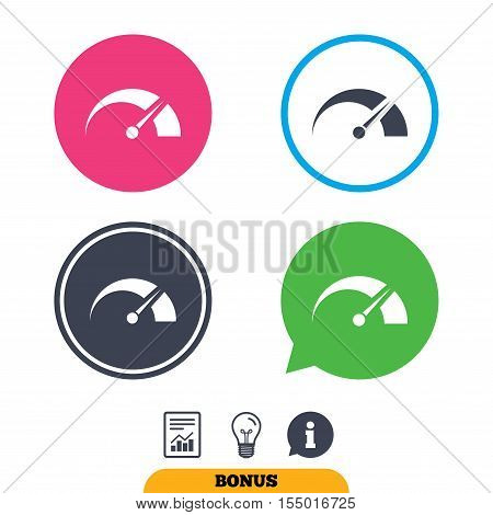 Tachometer sign icon. Revolution-counter symbol. Car speedometer performance. Report document, information sign and light bulb icons. Vector