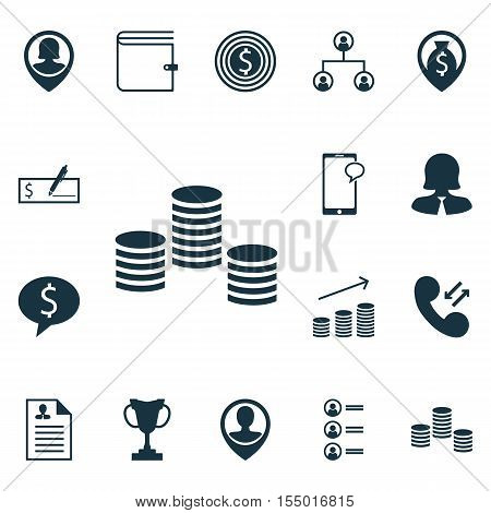 Set Of Management Icons On Curriculum Vitae, Wallet And Tournament Topics. Editable Vector Illustrat