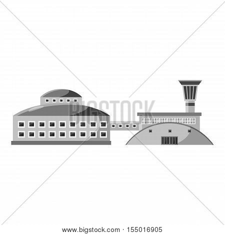 Large stock and factory icon. Gray monochrome illustration of large stock and factory vector icon for web