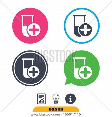 Medical test tube sign icon. Add new test with plus. Laboratory equipment symbol. Report document, information sign and light bulb icons. Vector