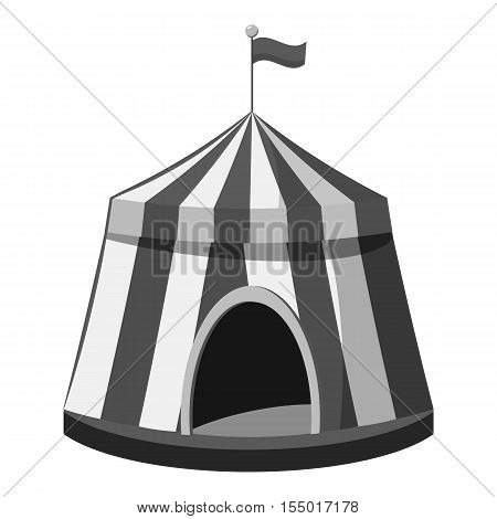Circus tent icon. Gray monochrome illustration of circus tent vector icon for web