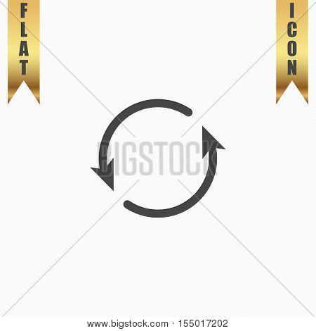 Arrow circle - cycle, loop, roundabout . Flat Icon. Vector illustration grey symbol on white background with gold ribbon
