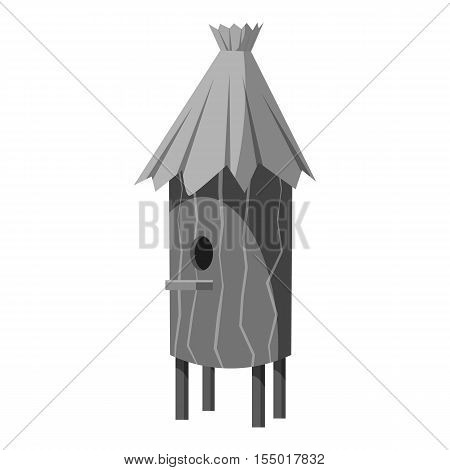 Wooden beehive icon. Gray monochrome illustration of wooden beehive vector icon for web