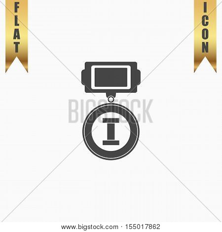 First place. Flat Icon. Vector illustration grey symbol on white background with gold ribbon
