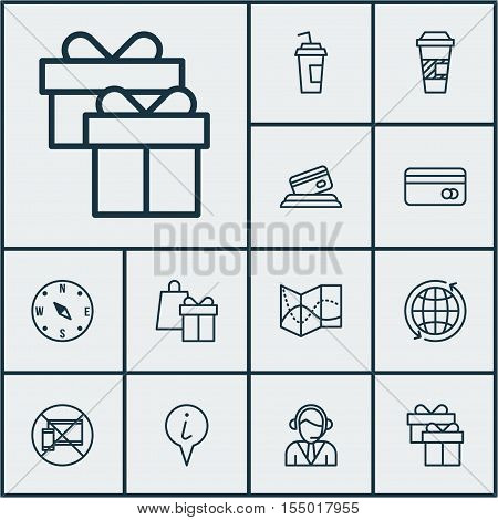 Set Of Travel Icons On Road Map, Info Pointer And Drink Cup Topics. Editable Vector Illustration. In