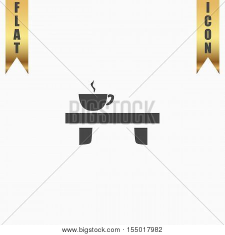 Cup on the table. Flat Icon. Vector illustration grey symbol on white background with gold ribbon