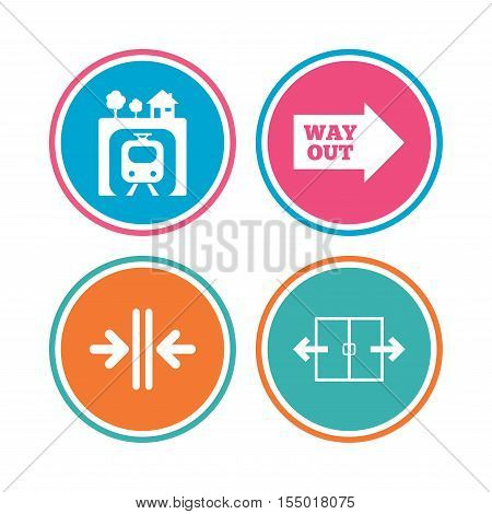 Underground metro train icon. Automatic door symbol. Way out arrow sign. Colored circle buttons. Vector