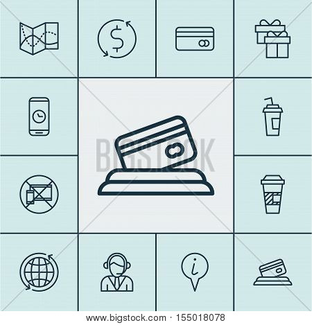 Set Of Travel Icons On Call Duration, Money Trasnfer And Forbidden Mobile Topics. Editable Vector Il