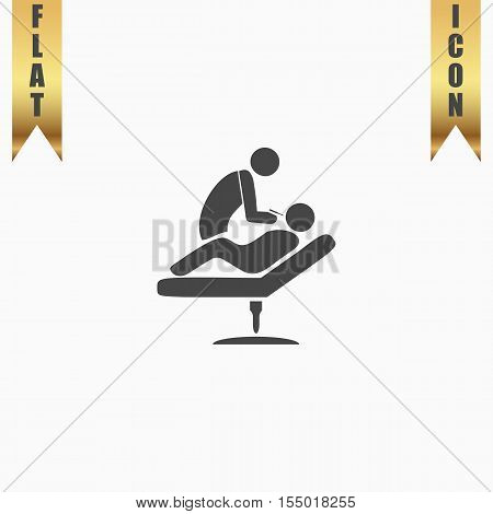 Dental clinic. Dentist treats teeth man in a chair. Flat Icon. Vector illustration grey symbol on white background with gold ribbon