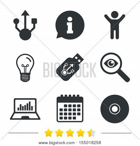 Usb flash drive icons. Notebook or Laptop pc symbols. CD or DVD sign. Compact disc. Information, light bulb and calendar icons. Investigate magnifier. Vector