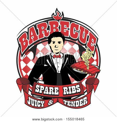 Vector Waiter Mascot Logo Illustration Template of Barbecue Char Grilled Tasty Juicy Tender Pork Spare Ribs