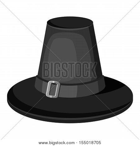 Pilgrim hat icon. Gray monochrome illustration of pilgrim vector icon for web