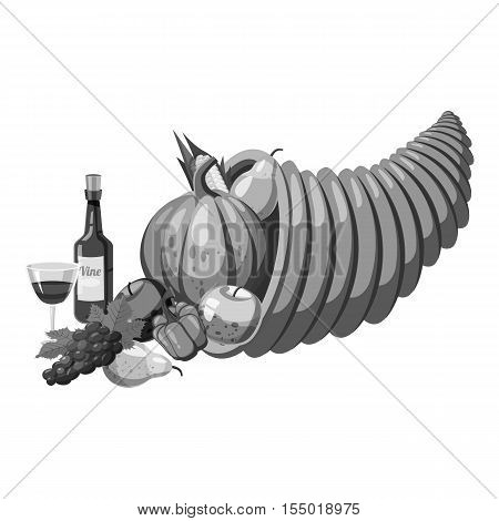 Cornucopia icon. Gray monochrome illustration of cornucopia vector icon for web