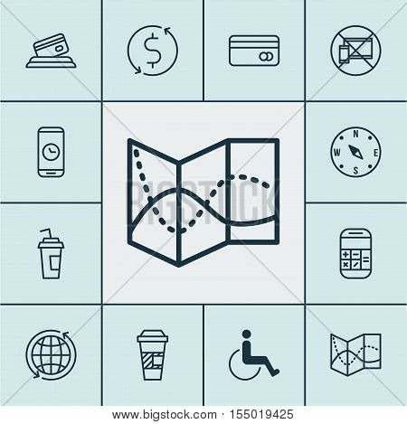 Set Of Traveling Icons On Money Trasnfer, Drink Cup And Forbidden Mobile Topics. Editable Vector Ill
