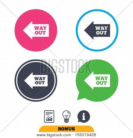 Way out left sign icon. Arrow symbol. Report document, information sign and light bulb icons. Vector
