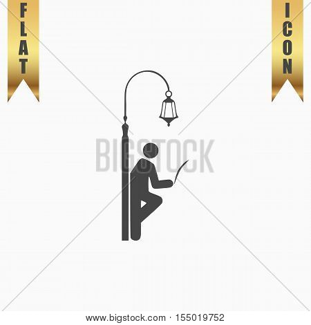 Businessman leaning on a lamppost in a tree, reading the newspaper. Flat Icon. Vector illustration grey symbol on white background with gold ribbon
