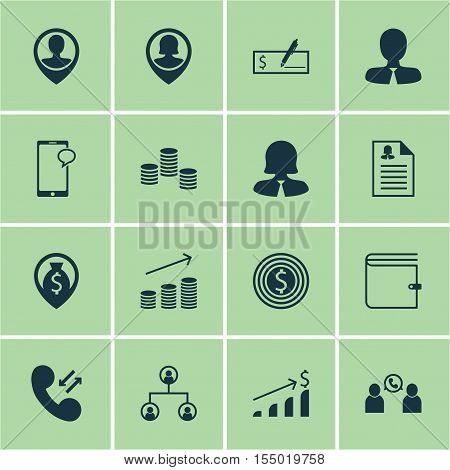 Set Of Management Icons On Messaging, Pin Employee And Phone Conference Topics. Editable Vector Illu