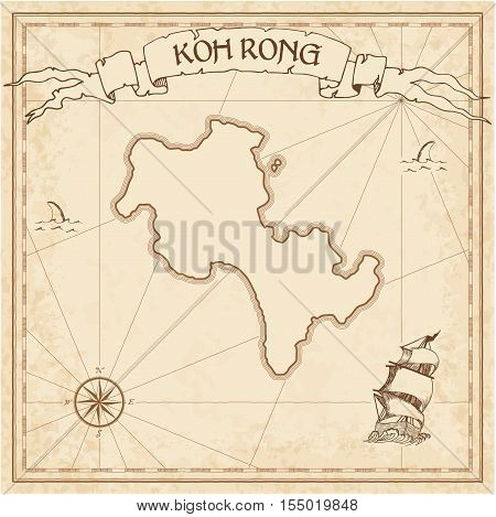 Koh Rong Old Treasure Map. Sepia Engraved Template Of Pirate Island Parchment. Stylized Manuscript O