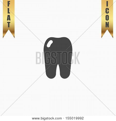 Simple Tooth. Flat Icon. Vector illustration grey symbol on white background with gold ribbon