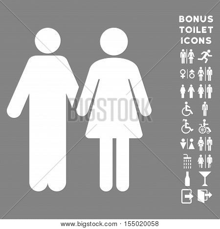 Married Couple icon and bonus man and lady restroom symbols. Vector illustration style is flat iconic symbols, white color, gray background.