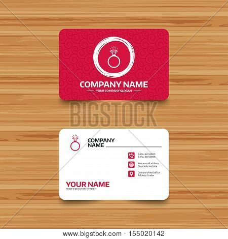 Business card template with texture. Ring sign icon. Jewelry with shine diamond symbol. Wedding or engagement day symbol. Phone, web and location icons. Visiting card  Vector