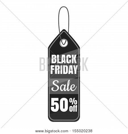 Sale tag 50 percent off icon. Gray monochrome illustration of sale tag 50 percent off vector icon for web
