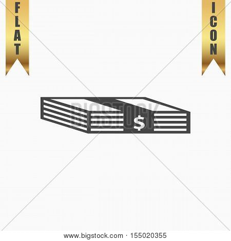 Bundle of Dollars. Flat Icon. Vector illustration grey symbol on white background with gold ribbon