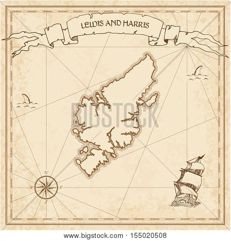 Lewis And Harris Old Treasure Map. Sepia Engraved Template Of Pirate Island Parchment. Stylized Manu