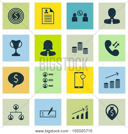 Set Of Human Resources Icons On Phone Conference, Messaging And Job Applicants Topics. Editable Vect